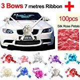 TtS Silver Wedding Car Ribbon + Red Silk Rose Petal (3 Bows 7 metres Ribbon )