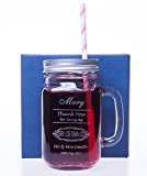 Engraved/Personalised BRIDESMAID Mason Drinking Jar Glass Gift for Wedding