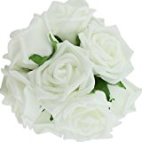 Hosaire 10PCS Colourfast Foam Roses Artificial Flower Wedding Bride Bouquet Party Decor DIY White