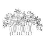 Bridal Bridesmaid Flower Rhinestonee Hair Comb Slide Clip Hairpiece 11x7cm