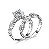 JewelryPalace Women 1.5ct Infinity Cubic Zirconia Anniversary Promise Wedding Band Engagement Ring Bridal Sets 925 Sterling Silver Size P 8