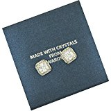 18ct White Gold Finish Stud Earrings with Swarovski Diamond Crystals