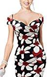 Miss Floral® Womens Black & White Floral Off Shoulder Plunge Midi Pencil Dress Size 8 - 16