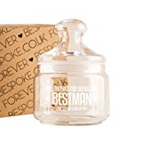 Personalised Best Man Engraved Glass Sweet Jar, Wedding Party Favours, Bridal Party Thank You Gift
