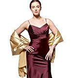 atopdress@200cmx 75cm soft satin Bridesmaid Bridal Bridesmaid Shawl Prom Wrap Draping Stole (200x 75cm, gold)