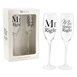 Mr Right and Mrs Always Right Set of two Glass Champagne Flutes in Boxed Packaging ,Perfect for Wedding or Anniversary Celebration