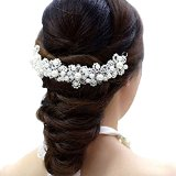 Contever® Wedding Party Bridal Hair Jewellery Tiara Crystal Pearls Headdress Accessories -- White
