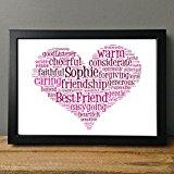 Personalised Print Heart Gift Word Art Love Teacher Christmas Best Friend Wedding Bridesmaid Celebration Friends Birthday Wedding New Home & FREE FRAME