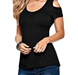 Bling-Bling Dress Women's Crochet Back Cold Shoulder Top black L