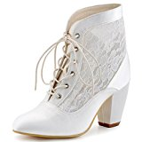 ElegantPark HC1559 Women Closed Toe Lace-up Ankle Boots High Heels Prom Lace Wedding Party Court Shoes Ivory UK 4