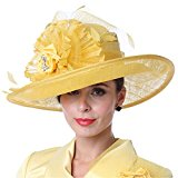 Kueeni Women Church Suits Mother of the Bride 3PCS Skirt Coat Outfits Wedding Hat Yellow