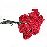 10Pcs Artificial Flower Foam Rose Wedding Bridesmaid Bridal Bouquet Party Decor Red&5.5Cm