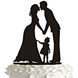 ROSENICE Wedding Cake Topper Kiss Bride and Groom Hand in Hand with a Girl Acrylic Cake Toppers in Black