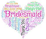 Personalised Bridesmaid Thank You Heart Word Cloud Print