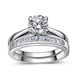 925 Sterling Silver Princess Diamond Cut Crystals Accent Love Forever Eternity Engagement Wedding Rings for women, teenage girls, Size UK M J L K N P Q R O S, with Gift Box, Ideal Gift for Christmas (O)