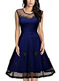 MIUSOL Women's Christmas Sleeveless 1950s Vintage Style Patchwork Mesh Casual Blue Dress XX-Large/UK 16