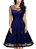 MIUSOL Women's Christmas Sleeveless 1950s Vintage Style Patchwork Mesh Casual Blue Dress XX-Large/UK 16