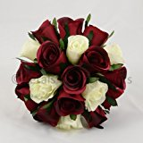 Silk Wedding Flowers Hand-made by Petals Polly, BRIDESMAIDS POSY, BURGUNDY/CREAM/IVORY