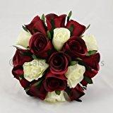 Silk Wedding Flowers Hand-made by Petals Polly, BRIDESMAIDS POSY, BURGUNDY/CREAM/IVORY