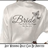 Personalised Satin Kimono /Robe Printed Silver Effect Butterfly Design. Bride, Bridesmaid, (Bride)