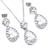 Colorfulday White Gold GP Clear Crystal Teardrop Bridal Necklace Dangle Earring Jewellery sets