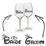 Bride Groom Vinyl Decal Sticker Wine Glass Cup Mug Wedding Hen Stag Gift Unique Personalised Custom