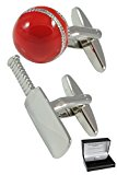 COLLAR AND CUFFS LONDON - Sporty HIGH QUALITY Cricket Bat and Ball Cufflinks - Brass - Silver and Red Colour - Presentation Gift Box Included