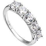 EVER FAITH® 925 Sterling Silver Prongs Set CZ Half Eternity Engagement Bride Ring - Size O N06396-2