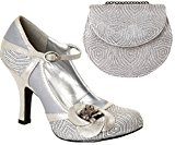 Ruby Shoo Sz 9 42 Belle Shoes & Tokyo Bag Platinum Silver Bridal Mary Jane