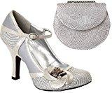 Ruby Shoo Sz 9 42 Belle Shoes & Tokyo Bag Platinum Silver Bridal Mary Jane