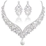 EVER FAITH® Austrian Crystal Art Deco V-Shape Party Jewellery Set - Clear-Silver-Tone N01911-9