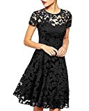 ZANZEA Women's Sexy Casual Summer Lace Round Neck Short Sleeve Princess Dress Party Ball Gown Black US 8
