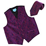 EGD1B01D-L Purple Blue Paisley Microfiber Dress Tuxedo Waistcoats Vest Neck Tie Set International Goods By Epoint