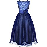 YiZYiF Girls Sleeveless Sequin Flower Sash Formal Wedding Bridesmaid Party Dresses Navy Blue 12-14 Years