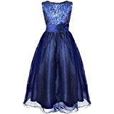 YiZYiF Girls Sleeveless Sequin Flower Sash Formal Wedding Bridesmaid Party Dresses Navy Blue 12-14 Years