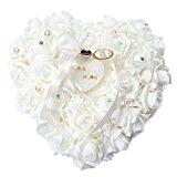 Yosoo 15x13cm Romantic Rose Wedding Ring Cushion Ring Box Heart Favors Wedding Ring Pillow with an Elegant Satin Flora (1 piece)