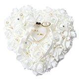 Yosoo 15x13cm Romantic Rose Wedding Ring Cushion Ring Box Heart Favors Wedding Ring Pillow with an Elegant Satin Flora (1 piece)