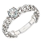 Jewellery 925 Sterling Silver Womens Ring, Love Heart, Color Silver (S)