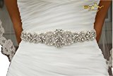 Shinybeauty Rhinestone Applique - Wedding Sash Ivory and Bridal Sash Belt for Wedding Dress Accessories,Bridal Head Piece,Gown Dress Belt,Wedding Garters,Female Underware Brim,Pillow Decoration