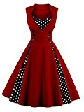 VKStar® Womens Vintage 1950's Inspired Button Swing Evening Dress Rockabilly Pinup Bridesmaid Cocktail Gowns Ball Gown Party Dress Burgundy L