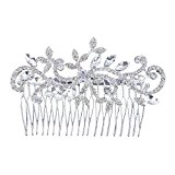 Women Bridal Silver Elegent Crystal Rhinestones Diamante Vintage Wedding Hair Comb Clip