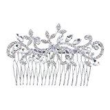 Women Bridal Silver Elegent Crystal Rhinestones Diamante Vintage Wedding Hair Comb Clip