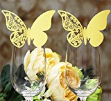 DIKETE® 50pcs Butterfly Place Cards Party Wedding Wine Glass Cup Decoration card [3D] [Hollow Pattern] Postcards Wall Decals Sticker for Christmas Engagement Birthday Favor [Gold] + 60pcs Glue Dots