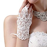 Oyedens Bride Wedding Party Dress Fingerless Rhinestone Lace Satin Bridal Gloves