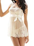 Amoretu Womens Lace Lingerie White Babydoll Dress Chemise Nightwear Plus Size (Medium=UK 10)