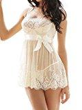 Amoretu Womens Lace Lingerie White Babydoll Dress Chemise Nightwear Plus Size (Medium=UK 10)