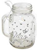 Bride And Groom Mason Style Clear Glass Wedding Drinking Jar ~ Mrs