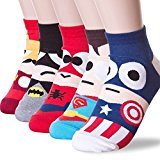 LAURA Women's Cotton Cartoon Ankle Socks 3D Multi Pattern Printed Pack Set Captain America
