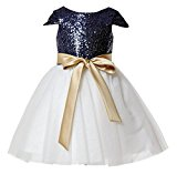LYDIAGS Sequin Cap Short Sleeve Knee Length Flower Girl Dress Junior Bridesmaid Dresses Toddler Girl Navy Blue 2T