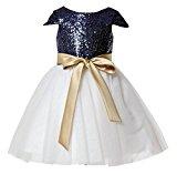 LYDIAGS Sequin Cap Short Sleeve Knee Length Flower Girl Dress Junior Bridesmaid Dresses Toddler Girl Navy Blue 2T